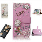 Luxuxy Bling Diamond Flower Crystal PU Leather Card Wallte Case For Cell Phones