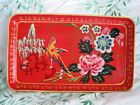 French Country Red Hand Painted Paper Mache Mid Century Tole Dresser Pin Tray