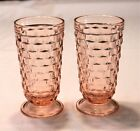2 VTG Indiana Glass Whitehall Colony Cubist Pink 6