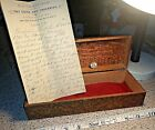 Antique FOLK ART Carved Wood Box 1890 Long Note Inside 1933 Penny New Hampshire