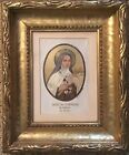 Antique Metallic Embroidered Holy Sancta Theresia Carved Gold Gild Frame Picture