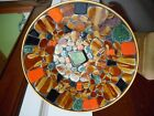 Retro Mid-Century Modern Large Round Bowl with Mosaic Inlaid Tiles Pebbles Japan