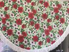 Vibtage 50 Inch Round Poinsetta Fringed Tablecloth