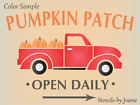 Joanie Stencil Pumpkin Patch Vintage Red Truck Open Daily Fall Market Prim Sign