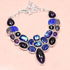 Multi Gems Dichroic Glass , Sapphire  925 Silver  Jewelry Necklace 16-18
