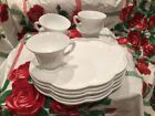 5 Sets Indiana Colony Harvest Grape White Milk Glass Snack Trays Plates Cups