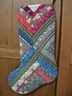 STOCKING from 1880-1890s QUILT~LOG CABIN PATTERN~AMAZING PRINTS~ALL HAND DONE~