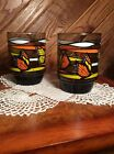 Vintage Monarch Butterfly Butterflies Drinking Glasses Set of 6 Retro