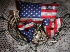Primitive Flag Pillow Hearts Bowl Fillers Prim Rustic Americana Ornies Tucks