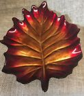 Red Glass Leaf Dish With Gold Leafing