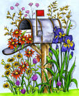 Mailbox With Iris Daisy Flowers Wood Mounted Rubber Stamp NORTHWOODS P10242 New
