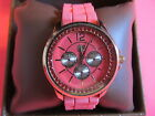 CURATIONS with STEFANI GREENFIELD PINK BLING RED CRYSTAL BEZEL CHRONO  WATCH  MG