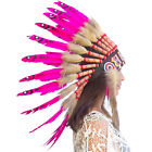 CLEARANCE PRICE Native American Indian Style Feather Headdress Pink Duck