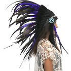 CLEARANCE PRICE Native American Indian Style Headdress Purple Black Rooster