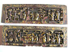 Antique Chinese Carved Gilt and Lacquer Panels Wooden from Wedding Bed