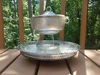 Silver look tray turns with warmer fire King glass Read