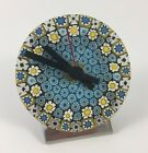 Millefiore Blue and Yellow Art Glass Desk Clock with Fresh Battery 35 Inch