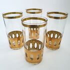4 Culver Antigua Highball Tumblers Glasses Gold Crackle Vintage Mid Century