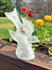 Estate Find FROSTED GLASS Love Bird Peace Dove L E SMITH USA Red Rose Painted