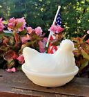 HAZEL ATLAS WHITE MILK GLASS HEN CHICKEN ON NEST BASKET SALT BUTTER DISH 50 Yrs