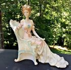 Vintage French Renaissance Lady Woman Sitting in Fainting Chair Statue Figurine