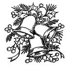 Christmas Bells  Holly Small Wood Mounted Rubber Stamp NORTHWOODS C10507 New