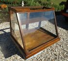 Antique 1800s SUN Store Display Original Wavy Glass Oak Showcase Cabinet Counter