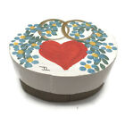 Miniature Hand Painted Wooden Band Box Oval Wooden Dollhouse Signed JL 2-1/8