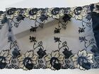 Elastic Navy Blue Embroidered Border Lace Trim Sewing Bridal Crafts 8 Wide