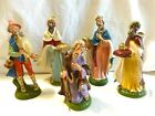 VINTAGE NATIVITY MAGI SHEPHERD BAGPIPER JOSEPH LARGE CHURCH SIZE 8 ITALY 5PC