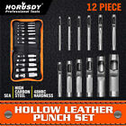 12pc Hollow Hole Metal Leather Punch Set 1 8 3 4 Inch Vinyl Gasket with Case