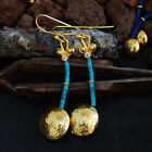 925 Sillver Hammered Handmade Turquoise Troy Earrings By Omer 24k Gold Vermeil