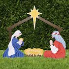 HOLY FAMILY OUTDOOR NATIVITY Christmas Mary Joseph Stable Creche Collapsible USA
