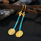 925 Sillver Handmade Ancient Art Heishi Turquoise Earrings Omer 24k Gold Plated