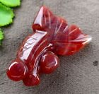 34x24x10mm red agate carved fish pandant bead E621