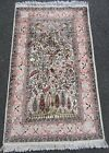 VINTAGE SILK PILED INDO PERSIAN TABRIZ TREE OF LIFE RUG    BEEN HAND WASHED