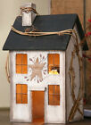 New Primitive Country Whitewash Saltbox House Lamp Light Windows Grapevine Berry