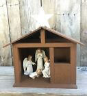 Vintage Inarco Angels  Baby Jesus Set with Handmade Wooden Creche Lighted Rare