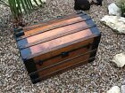30020~ Antique 19th Century Victorian Hump Back Steamer / Stage Coach Trunk