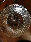 Vintage Federal Clear Glass Fruit Pattern Bowl approx 11
