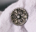 Antique stamped cut-steel look button, stylized floral design 5/8