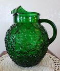 VINTAGE ANCHOR HOCKING FOREST GREEN LIDO OR MILANO 2 QUART BALL PITCHER
