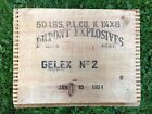 Vintage Antique DUPONT EXPLOSIVES Gelex No. 2 Dynamite TNT Wood Crate Box 1951