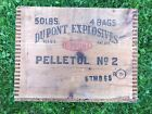 Vintage Antique DUPONT EXPLOSIVES Pelletol No 2 Dynamite TNT Wood Crate Box