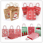 18 Style Christmas Kraft Paper Gift Bag Brown With Handle For Festival Shopping