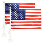 Anley 2 Packs US American Patriotic Car Flag 19x11 inch Car Window Clip USA Flag
