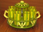 Vintage 8 Green Yellow Glass Tumblers Ice Bucket Metal Lazy Susan Tray RARE