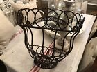 Vintage Antique Rustic French Metal Twisted Wire Wall Garden Planter Basket