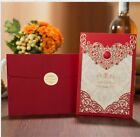 50x Personalized Laser Cut Printing Wedding Invitation Cards with Envelopes Seal