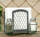 Chicken Wire Salt Pepper And Napkin Caddy Holder Rustic Country Farmhouse Decor